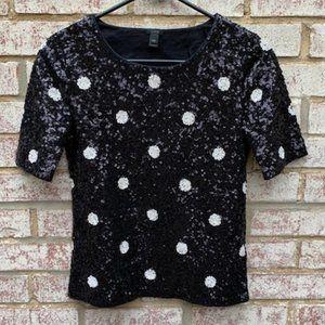 J. Crew Sequin Dressy Top Shirt Sz XXS